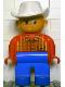 Minifig No: 4555pb087  Name: Duplo Figure, Male, Blue Legs, Red Top Plaid, White Cowboy Hat