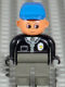 Minifig No: 4555pb090  Name: Duplo Figure, Male Police, Dark Gray Legs, Black Top with Zipper, Tie and Badge, Blue Cap