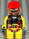 Minifig No: 4555pb091  Name: Duplo Figure, Male Action Wheeler, Yellow Legs, Yellow Top with Yellow/Black/Red Parachute, Red Cap, Beard, Sunglasses and Headphone