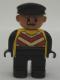 Minifig No: 4555pb095  Name: Duplo Figure, Male, Black Legs, Yellow Chevron Vest, Black Arms, Black Cap