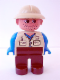 Minifig No: 4555pb103  Name: Duplo Figure, Male, Brown Legs, Tan Top, Blue Arms, Tan Pith Helmet, Facial Stubble