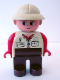 Minifig No: 4555pb104  Name: Duplo Figure, Female, Brown Legs, Red Arms, Tan Pith Helmet, Eyelashes