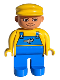 Minifig No: 4555pb105  Name: Duplo Figure, Male, Blue Legs, Yellow Top with Blue Overalls with Airplane, Yellow Cap