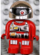 Minifig No: 4555pb109  Name: Duplo Figure, Robot Action Wheeler, Red Legs, Utility Belt, Chest Panel, One Red Eye and Silver Helmet