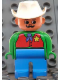 Minifig No: 4555pb118  Name: Duplo Figure, Male, Blue Legs, Green Top with Red Vest with Sheriff Star, Moustache, White Cowboy Hat