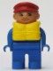Minifig No: 4555pb126  Name: Duplo Figure, Male, Blue Legs, Blue Top, Life Jacket, Red Cap, No White in Eyes pattern