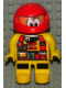 Minifig No: 4555pb138  Name: Duplo Figure, Male Action Wheeler, Yellow Legs, Yellow Top with Racer Pattern, Red Racing Helmet