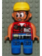Minifig No: 4555pb139  Name: Duplo Figure, Male Action Wheeler, Blue Legs with Belt & Pockets, Red Vest with Wrench & ID, Yellow Cap