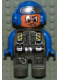 Minifig No: 4555pb140  Name: Duplo Figure, Male Action Wheeler, Dark Gray Legs, Dark Gray Jumpsuit, Blue Arms, Blue Aviator Helmet with Goggles