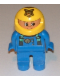 Minifig No: 4555pb141  Name: Duplo Figure, Male, Blue Legs, Blue Top with Green Suspenders and Tiger Logo, Yellow Helmet with Tiger