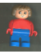 Minifig No: 4555pb146  Name: Duplo Figure, Female, Blue Legs, Red Top, Brown Hair, Eyelashes, Smile with Lips
