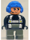 Minifig No: 4555pb147  Name: Duplo Figure, Male Police, Dark Gray Legs, Black Top with Silver Harness and Yellow Stars, Headset, Blue Aviator Helmet