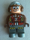 Minifig No: 4555pb153  Name: Duplo Figure, Male Action Wheeler, Dark Gray Legs, Brown Top with Parachute Straps, Brown Helmet with Goggles
