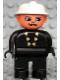 Minifig No: 4555pb156  Name: Duplo Figure, Male Fireman, Black Legs, Black Top with 6 Yellow Buttons, White Fire Helmet, Moustache