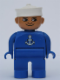 Minifig No: 4555pb157  Name: Duplo Figure, Male, Blue Legs, Blue Top with White Anchor, White Sailor Hat