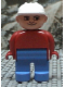 Minifig No: 4555pb159  Name: Duplo Figure, Male, Blue Legs, Red Top, White Construction Hat