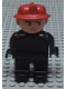 Minifig No: 4555pb162  Name: Duplo Figure, Male Fireman, Black Legs, Black Top (no buttons), Red Fire Helmet