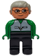 Minifig No: 4555pb166  Name: Duplo Figure, Male, Black Legs, Green Top with Vest, Gray Hair, Glasses