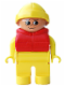 Minifig No: 4555pb171  Name: Duplo Figure, Male, Yellow Legs, Yellow Top, Life Jacket Red, Yellow Rain Hat