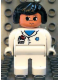 Minifig No: 4555pb175  Name: Duplo Figure, Female Medic, White Legs, White Top with Pocket and EMT Star of Life Pattern, Black Hair
