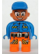 Minifig No: 4555pb178  Name: Duplo Figure, Male Action Wheeler, Orange Legs with Belt, Blue Top with Pen, Chain, Radio, and Wrench, Blue Cap