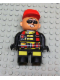 Minifig No: 4555pb182  Name: Duplo Figure, Male Action Wheeler, Black Legs with Yellow Patches, Red Straps, Sunglasses, Red Cap
