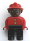 Minifig No: 4555pb185  Name: Duplo Figure, Male Fireman, Black Legs, Red Top with Two Buttons, Red Fire Helmet, Brown Head