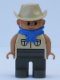 Minifig No: 4555pb188  Name: Duplo Figure, Male, Dark Gray Legs, Tan Top Safari with Pockets, Cowboy Hat, Blue Bandana