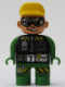 Minifig No: 4555pb197  Name: Duplo Figure, Male Action Wheeler, Green Legs, Green Top, Yellow Hat, Glasses (Construction Worker Driver)
