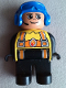 Minifig No: 4555pb198  Name: Duplo Figure, Male Fireman, Black Legs, Yellow Top with Flame and Orange Suspenders, Blue Aviator Helmet