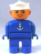Minifig No: 4555pb204  Name: Duplo Figure, Male, Blue Legs, Blue Top with White Anchor, White Sailor Hat, no White in Eyes Pattern