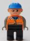 Minifig No: 4555pb206  Name: Duplo Figure, Male, Black Legs, Orange Vest, Dark Gray Arms, Construction Hat Blue