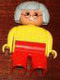 Minifig No: 4555pb207  Name: Duplo Figure, Female, Red Legs, Yellow Blouse, Gray Hair, Glasses