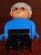 Minifig No: 4555pb209  Name: Duplo Figure, Male, Black Legs, Blue Top, Gray Hair, Glasses