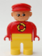 Minifig No: 4555pb217  Name: Duplo Figure, Male, Yellow Legs, Red Top with Recycle Logo, Red Cap, turned up Nose