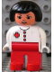 Minifig No: 4555pb231  Name: Duplo Figure, Female Medic, Red Legs, White Top, Black Hair, Red Cross, Asian Eyes