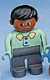Minifig No: 4555pb242  Name: Duplo Figure, Male, Dark Gray Legs, Light Green Top With 2 Buttons And Collar, Black Hair