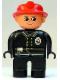 Minifig No: 4555pb251  Name: Duplo Figure, Male Fireman, Black Legs, Black Top with Flame Logo, Red Fire Helmet, no Moustache