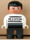 Minifig No: 4555pb252  Name: Duplo Figure, Male, Black Legs, White Top with 2-672 Number on Chest, Black Hair, White Hands, Stubble, Moustache Stubble (Jailbreak Joe)