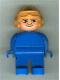 Minifig No: 4555pb260  Name: Duplo Figure, Male, Blue Legs, Blue Top, Aviator Helmet Fabuland Orange
