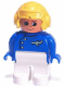 Minifig No: 4555pb263  Name: Duplo Figure, Male, White Legs, Blue Top with Plane Logo, Yellow Aviator Helmet, Turned Up Nose