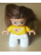 Minifig No: 47205pb004  Name: Duplo Figure Lego Ville, Child Girl, White Legs, Orange Top, Brown Hair (Princess)