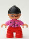 Minifig No: 47205pb005  Name: Duplo Figure Lego Ville, Child Girl, Red Legs, Dark Pink Top With Flowers, Black Riding Helmet, Glasses