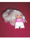 Minifig No: 47205pb007  Name: Duplo Figure Lego Ville, Child Girl, White Legs, Dark Pink Top with White Lace Neckline, Blond Hair (Princess)