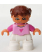 Minifig No: 47205pb008  Name: Duplo Figure Lego Ville, Child Girl, White Legs, Bright Pink Top, Dark Pink Arms, Reddish Brown Hair with Braids