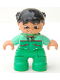 Minifig No: 47205pb009  Name: Duplo Figure Lego Ville, Child Girl, Bright Green Legs, Medium Green Top with Red Trim, Black Hair