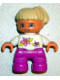 Minifig No: 47205pb010  Name: Duplo Figure Lego Ville, Child Girl, Magenta Legs, White Top with Two Flowers, White Arms, Tan Hair
