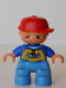 Minifig No: 47205pb011  Name: Duplo Figure Lego Ville, Child Boy, Medium Blue Legs, Blue Top with 'SKATE' Pattern, Red Cap, Freckles