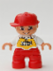 Minifig No: 47205pb012  Name: Duplo Figure Lego Ville, Child Boy, Red Legs, White Top with 'SKATE' Pattern, Red Cap