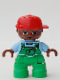 Minifig No: 47205pb013  Name: Duplo Figure Lego Ville, Child Boy, Bright Green Legs, Bright Light Blue Top with Bright Green Overalls with Worms in Pocket, Brown Head, Red Cap